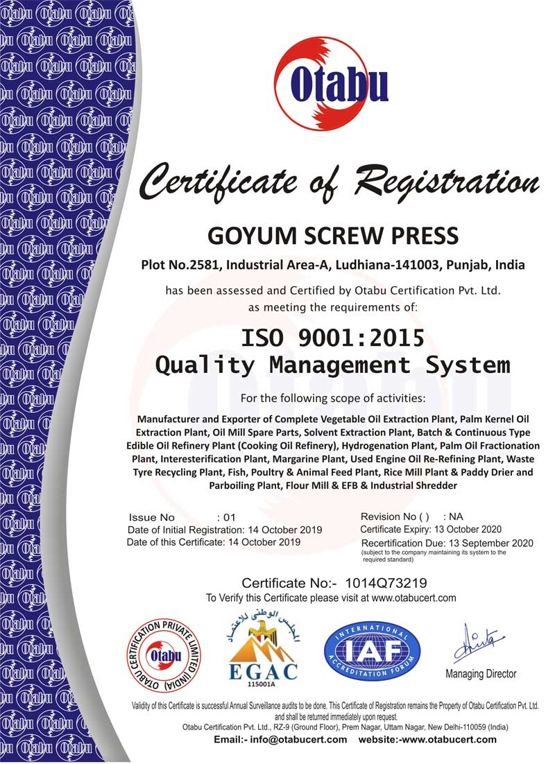 GOYUM ISO Certificate